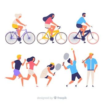 スポーツをするカラフルな人々