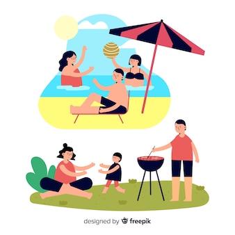 手描き家族の屋外シーンパック