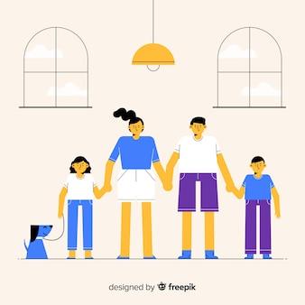 手を繋いでいる手描き家族の肖像画