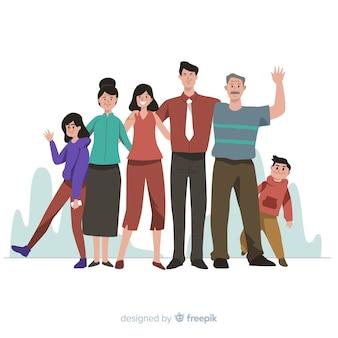 手描きの家族の肖像画イラスト