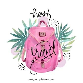 水彩ピンクのバックパック付き旅行レタリング