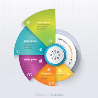 カラフルなビジネスインフォグラフィックのステップ