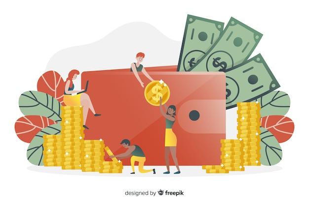 Ручной обращается деньги концепции экономии фона