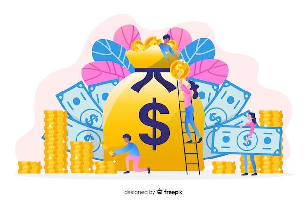 手描きのお金節約の概念の背景