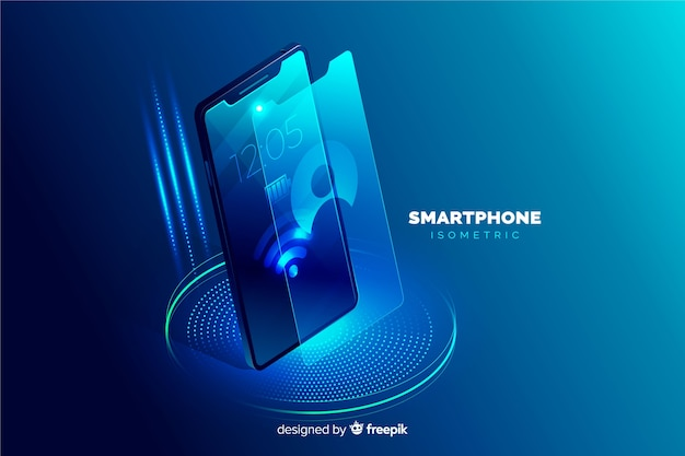 Изометрические мобильный телефон фон шаблона