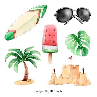 水彩夏要素コレクション