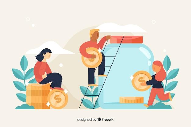 お金の背景を節約する人