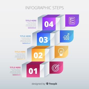 グラデーションインフォグラフィックステップテンプレート