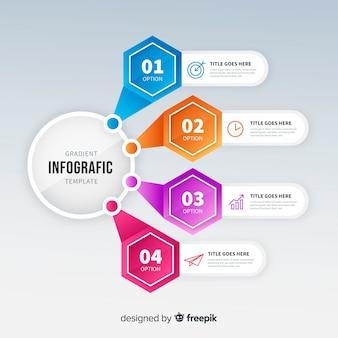 カラフルなグラデーションインフォグラフィックテンプレート