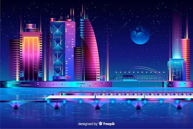 Футуристический ночной город фон