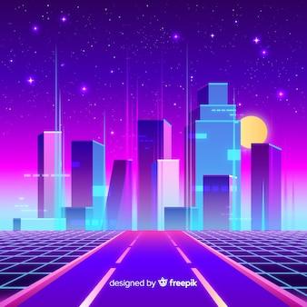 フラット未来的な夜の街の背景
