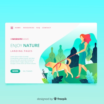 フラットなデザインの自然のランディングページ