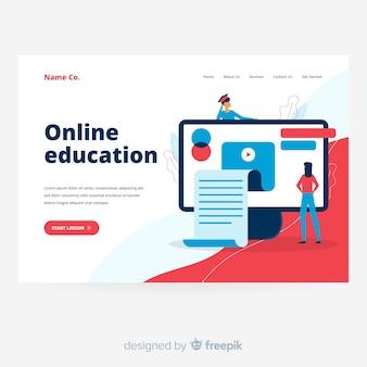 フラットなデザインのオンライン教育のランディングページ