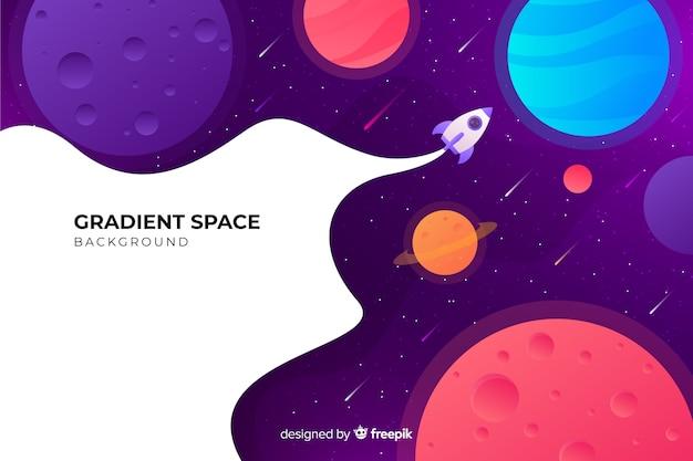 銀河を通過するグラデーションフラットロケット