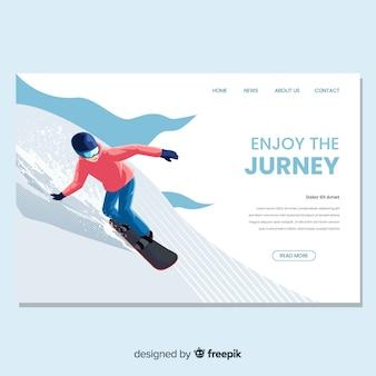 フラットなデザインのスノーボードのランディングページ