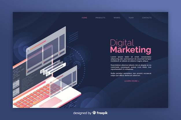 インフォグラフィックデジタルマーケティングのランディングページ