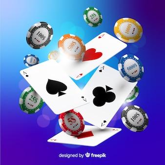 Реалистичные казино фишки и карты падают