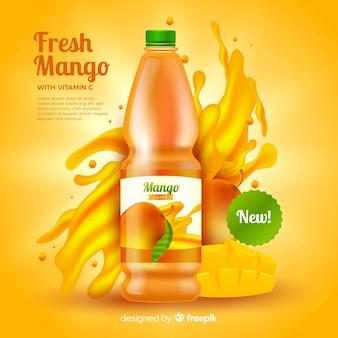 リアルなマンゴージュース広告テンプレート