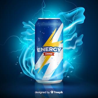 Реалистичный энергетический напиток рекламный шаблон