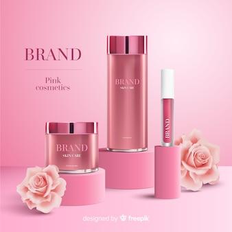 Розовая косметическая реклама