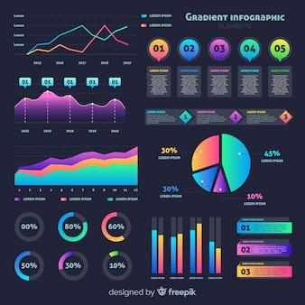 統計情報とフラットグラデーションインフォグラフィック