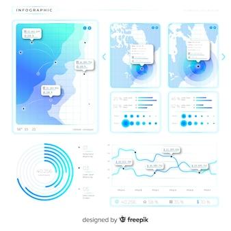 フラットグラデーションインフォグラフィックテンプレート