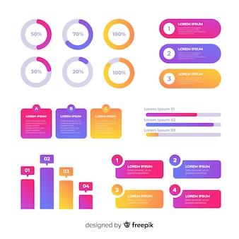 Плоский градиент инфографики со статистикой