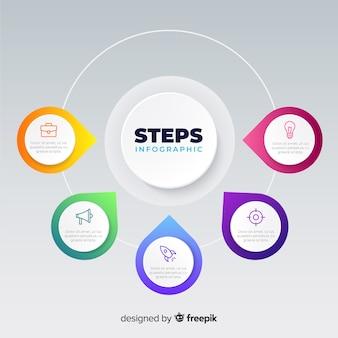 Плоские градиенты инфографики шаги