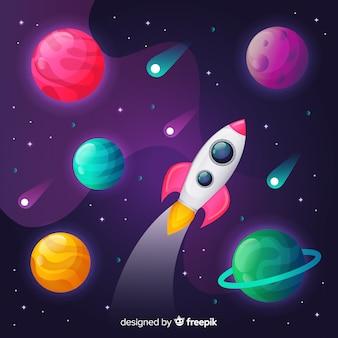 ロケットでグラデーション空間