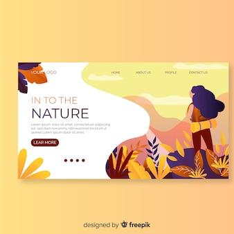 手描きの植物のランディングページ