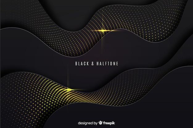 黒い波背景ハーフトーン効果