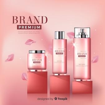 ピンクの化粧品広告