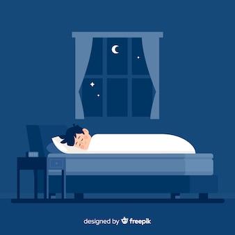 Плоский человек спит ночью в постели фоне