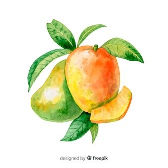 Акварель тропических манго с листьями