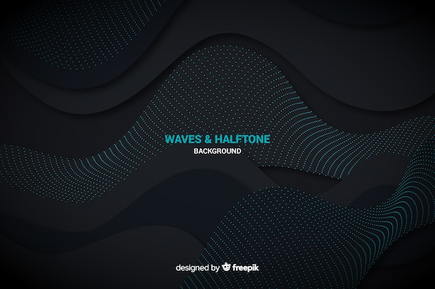 ハーフトーン効果と黒い波背景