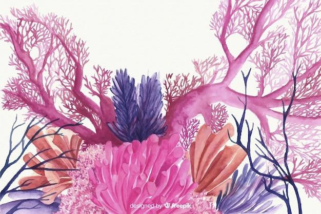 水彩のサンゴの背景