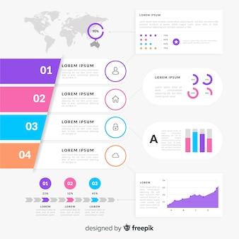 アイソメトリック・インフォグラフィック・チャートと人々