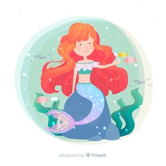 Рисованной красочный фон русалка