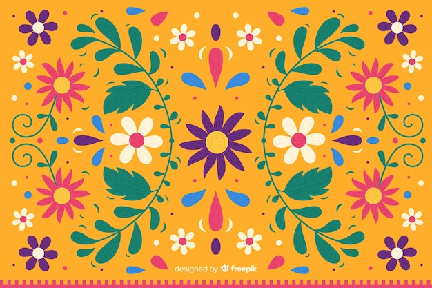 カラフルなメキシコ刺繍の背景