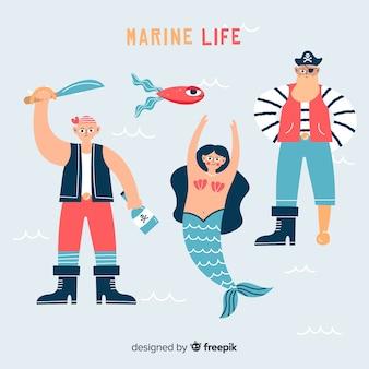 手描きの海洋生物のキャラクター