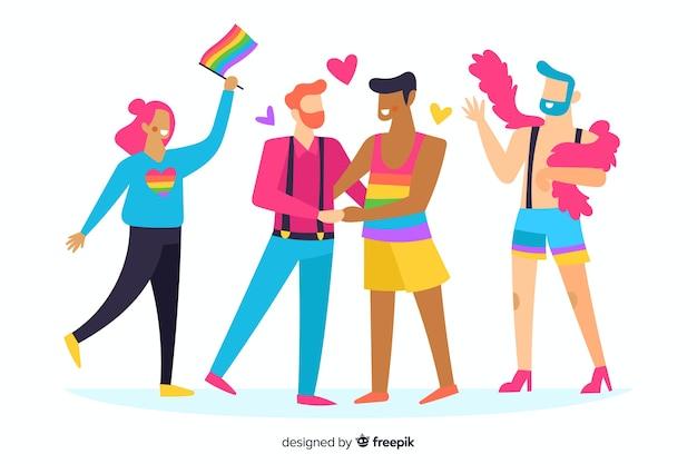 Люди празднуют день гордости