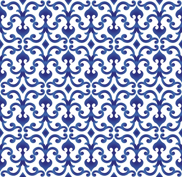 青と白のセラミックパターン日本と中国のスタイル、磁器のバックグラウンドデザインベクトル