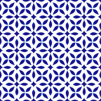 磁器模様、シームレスなモダンなセラミックデザイン、青と白の花の背景