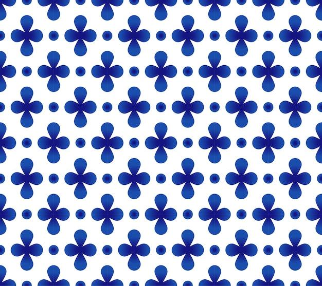 抽象的な花青と白のタイルのパターン、磁器のシームレスなデザイン
