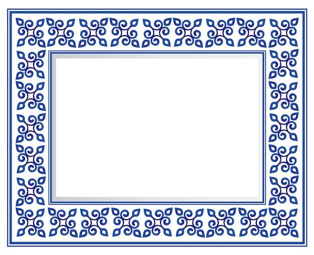 青と白のセラミック装飾正方形のフレーム、美しい磁器の装飾の境界線