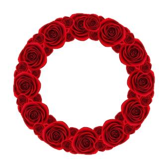 白い背景に赤いバラの花輪、美しい花のフレーム