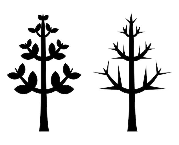 黒い木のシルエットベクトル