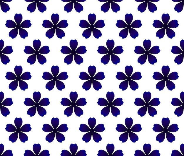 青い花のシームレスなパターン