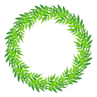 かわいい葉の丸いフレーム、緑の葉の円の罫線、竹の葉や枝の花輪