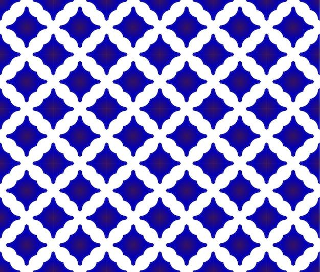 タイルパターン、青と白のセラミックデザイン、磁器のシームレスな背景